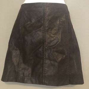 Free People Retro Faux-Leather Brown Skirt Sz6 NWT